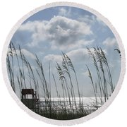 Sea Oats And Safety Round Beach Towel