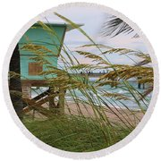 Sea Oats And The Tower Round Beach Towel