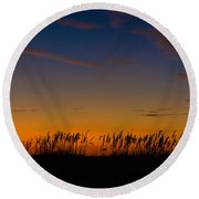 Sea Oats At Twilight Round Beach Towel