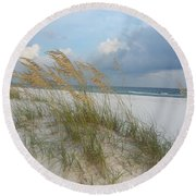 Sea Oats  Blowing In The Wind Round Beach Towel