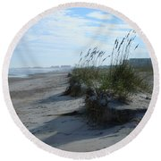 Sea Oats Drop Off Round Beach Towel