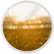 Sea Oats Sunset Round Beach Towel by Sebastian Musial