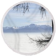 Sea Of Fog And A Tree Round Beach Towel