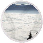 Sea Of Fog And Alps Round Beach Towel
