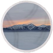 Sea Of Fog And Snow-capped Mountain In Sunset Round Beach Towel
