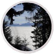 Sea Of Fog Over An Alpine Lake Round Beach Towel