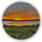 Sea Of Galilee Sunset Round Beach Towel