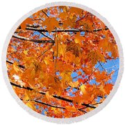 Sea Of Orange And Blue Round Beach Towel