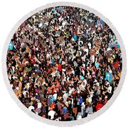 Sea Of People Round Beach Towel by Glenn McCarthy Art and Photography