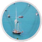 Sea Of Sailboats Round Beach Towel