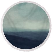 Sea Of Trees And Hills Round Beach Towel