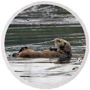 Sea Otter Profile Round Beach Towel
