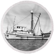 Purse Seiner Sea Queen Monterey Harbor California Fishing Boat Purse Seiner Round Beach Towel