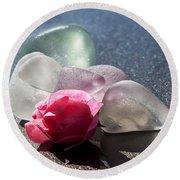 Sea Rose Round Beach Towel by Barbara McMahon