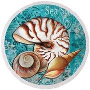 Sea Shells Original Coastal Painting Colorful Nautilus Art By Megan Duncanson Round Beach Towel by Megan Duncanson