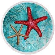 Sea Shore Original Coastal Painting Colorful Starfish Art By Megan Duncanson Round Beach Towel