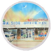 Sea Side Drive In Round Beach Towel