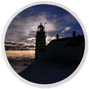 Sea Smoke At West Quoddy Head Lighthouse Round Beach Towel