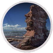 Sea Stack At North Cape On Prince Edward Island Round Beach Towel
