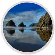 Sea Stack Blues Round Beach Towel by Adam Jewell