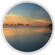 Sea Stack Photographer Round Beach Towel by Adam Jewell