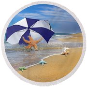 Sea Star Celebration  Round Beach Towel
