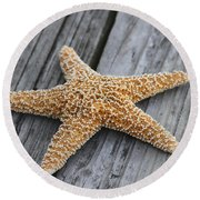 Sea Star On Deck Round Beach Towel