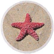 Sea Star - Red Round Beach Towel