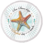 Sea Stars Align For A Perfect Day At The Beach Round Beach Towel by Amy Kirkpatrick