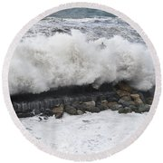 Sea Storm  Round Beach Towel
