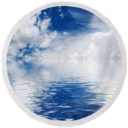 Sea Sun And Clouds Round Beach Towel