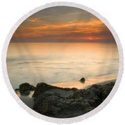 Sea Sunset Round Beach Towel