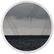 Tornado At Sea Round Beach Towel