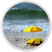By The Sea Waiting For Me Round Beach Towel