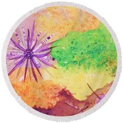 Sea Urchins - Abstract Round Beach Towel