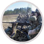 Seabees Fire The M2 .50-caliber Machine Round Beach Towel