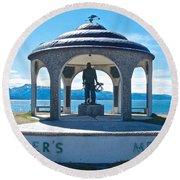 Seafarer's Memorial On Homer Spit-ak Round Beach Towel