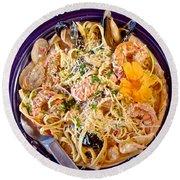 Seafood Fetticinni Alfredo At Cafe Cups Restaurant In Homer-ak   Round Beach Towel