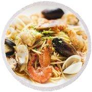 Seafood Pasta Dish Round Beach Towel