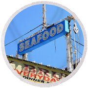 Seafood Sign Round Beach Towel