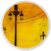 Seafront Sunset Round Beach Towel