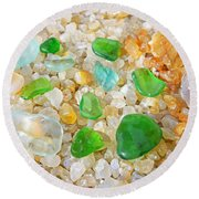 Seaglass Green Art Prints Agates Beach Garden Round Beach Towel