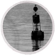 Seagull And Buoy Round Beach Towel