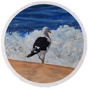 Seagull And Surf Round Beach Towel