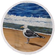 Seagull At The Seashore Round Beach Towel