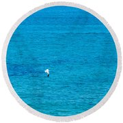 Seagull Cruising Over Azure Blue Sea Round Beach Towel