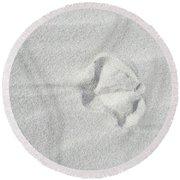 Seagull Footprint On The Sand Round Beach Towel