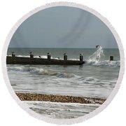 Seagull Groyne Round Beach Towel
