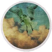 Seagull In The Clouds Round Beach Towel