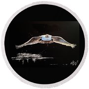 Seagull In The Moonlight Round Beach Towel